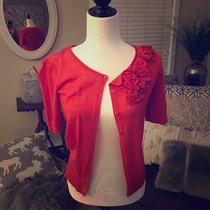 Reddish floral cardigan
